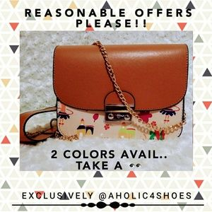 Apricot/ Red Cartoon Print Chain Shoulder Bag
